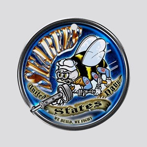 USN Seabees We Build We Fight Blue Ornament (Round