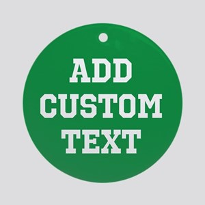 Custom Sports Text Green White Ornament (Round)