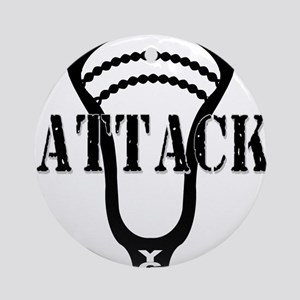 Lacrosse Attack Head Black Ornament (Round)