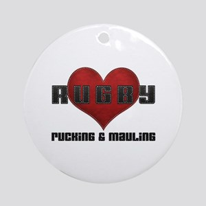 I Love Rugby Rucking & Mauling Ornament (Round)