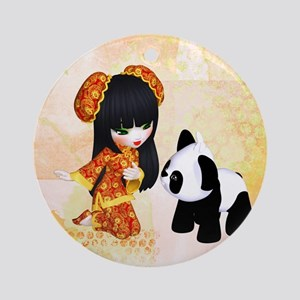 Kawaii China Girl Ornament (Round)