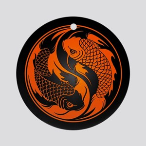 Orange and Black Yin Yang Koi Fish Ornament (Round
