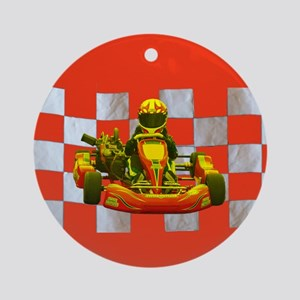 Yellow Kart on Checkered Flag Ornament (Round)