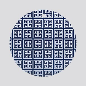 Blue Greek Key Pattern Ornament (Round)