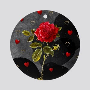 Red Rose Black Hearts Round Ornament