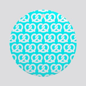 Aqua and White Twisted Yummy Pret Ornament (Round)