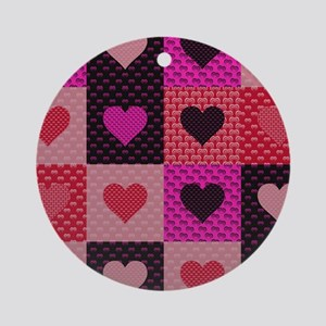 Hearts Quilt Ornament (Round)