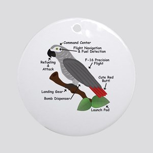 Anatomy of an African Grey Parrot Round Ornament