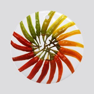 Charleston Hot Peppers Color Wheel Round Ornament