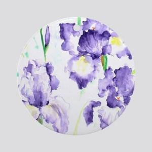 Watercolor Abstract Iris Pattern Round Ornament