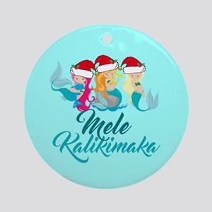 Mele Kalikimaka Mermaid Round Ornament