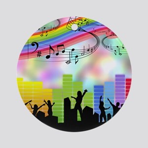 Colorful Musical Theme Ornament (Round)