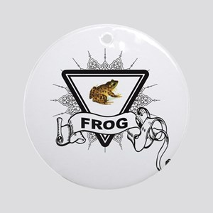 label of the frog Round Ornament