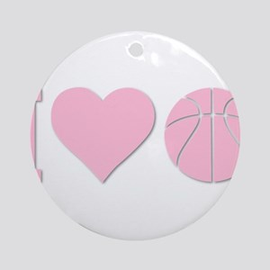 I Love Basketball Pink Ornament (Round)