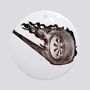 Flaming ghost wheel Round Ornament