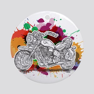 Bike Colorful Splashes Round Ornament