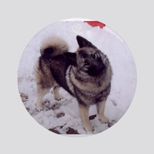 norwegian elkhound full 2 Round Ornament
