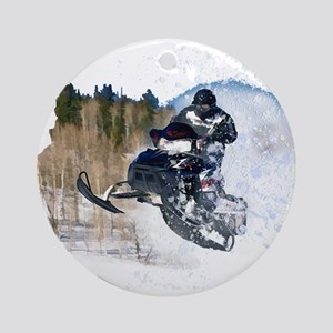 Airborne Snowmobile Ornament (Round)