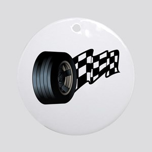 Tire with Flag Ornament (Round)
