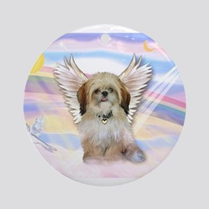 Angel Shih Tzu in Clouds Ornament (Round)
