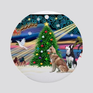 XmasMagic/2 Huskies Ornament (Round)