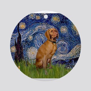 Starry Night & Vizsla Ornament (Round)