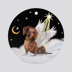 Brown Dachshund Angel (night) Ornament (Round)
