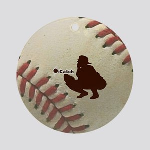 iCatch Baseball Round Ornament