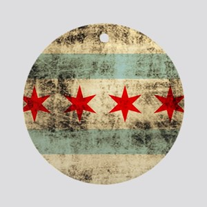 Grunge Chicago Flag Ornament (Round)
