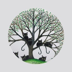 Borders Black Cats in Tree Round Ornament