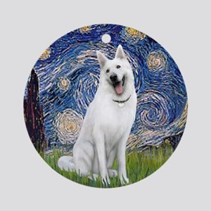 Starry-White German Shepherd Round Ornament