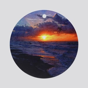 Sunrise Over The Atlantic Ocean Round Ornament