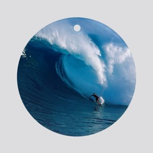 Big Wave Surfing Round Ornament