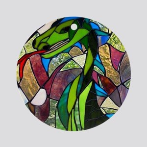 Mystic Dragon in Stained Glass Round Ornament