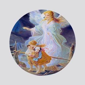 Guardian angel with children crossi Round Ornament