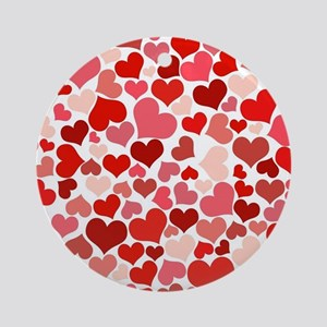 Abstract Red and Pink Hearts Patt Ornament (Round)