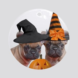 Halloween French Bulldogs Round Ornament