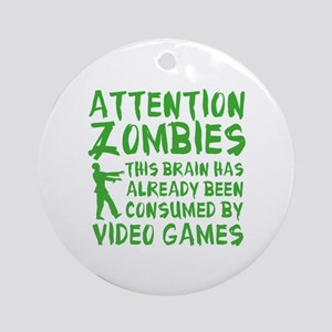 Attention Zombies Video Games Ornament (Round)