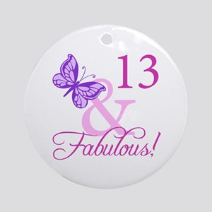 Fabulous 13th Birthday For Girls Ornament (Round)