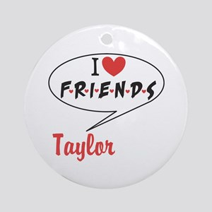 Personalize I heart Friends TV Round Ornament