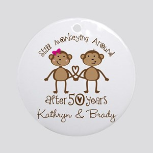 50th Wedding Anniversary Personalized Round Orname