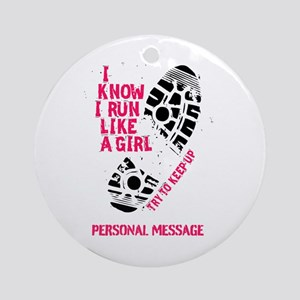 Personalized Runner Girl Ornament (Round)