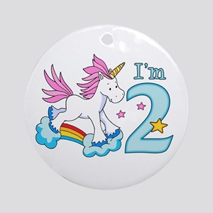 Rainbow Unicorn 2nd Birthday Ornament (Round)
