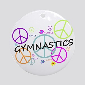 Colored Peace Signs Gymnastics Ornament (Round)