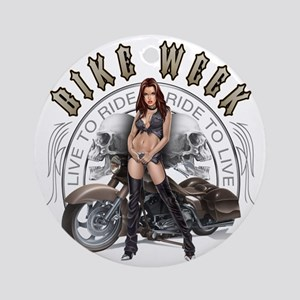 CP1010-Bike Week Chaps Babe Round Ornament