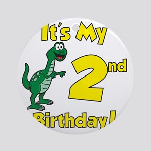 Dinosaur 2nd Birthday Round Ornament