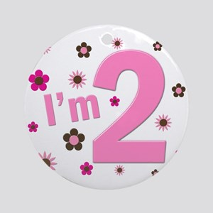 """I'm 2"" Pink & Brown Flowers Ornament (Round)"