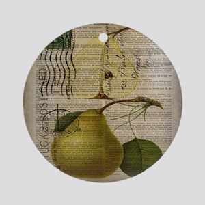 botanical vintage pear  Round Ornament