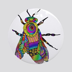 Painted Bee Round Ornament