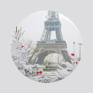 Winter in Paris Round Ornament